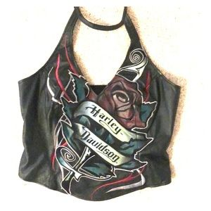 Harley Davidson leather halter top with rose